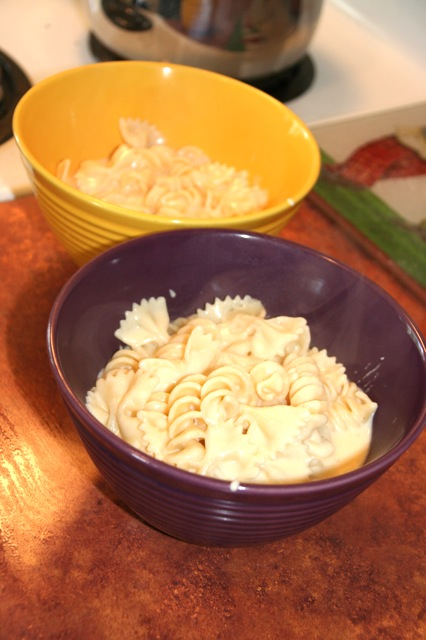 homemade bows-and-rotini-and-cheese