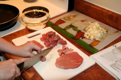 slicing beef